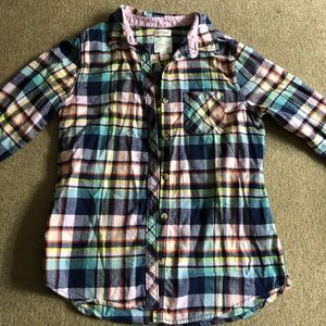 Cat & Jack girls size XL plaid button down